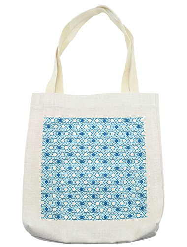 Lunarable Arabian Tote Bag, Old Historical Oriental Ancient Ottoman Artwork with Pattern of Stars Geometric Art, Cloth Linen Reusable Bag for Shopping Groceries Books Beach Travel & More, Cream by Lunarable