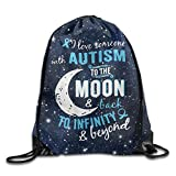 I Love Someone With Autism Folding Sport Backpack Drawstring Bag Customize Fashion