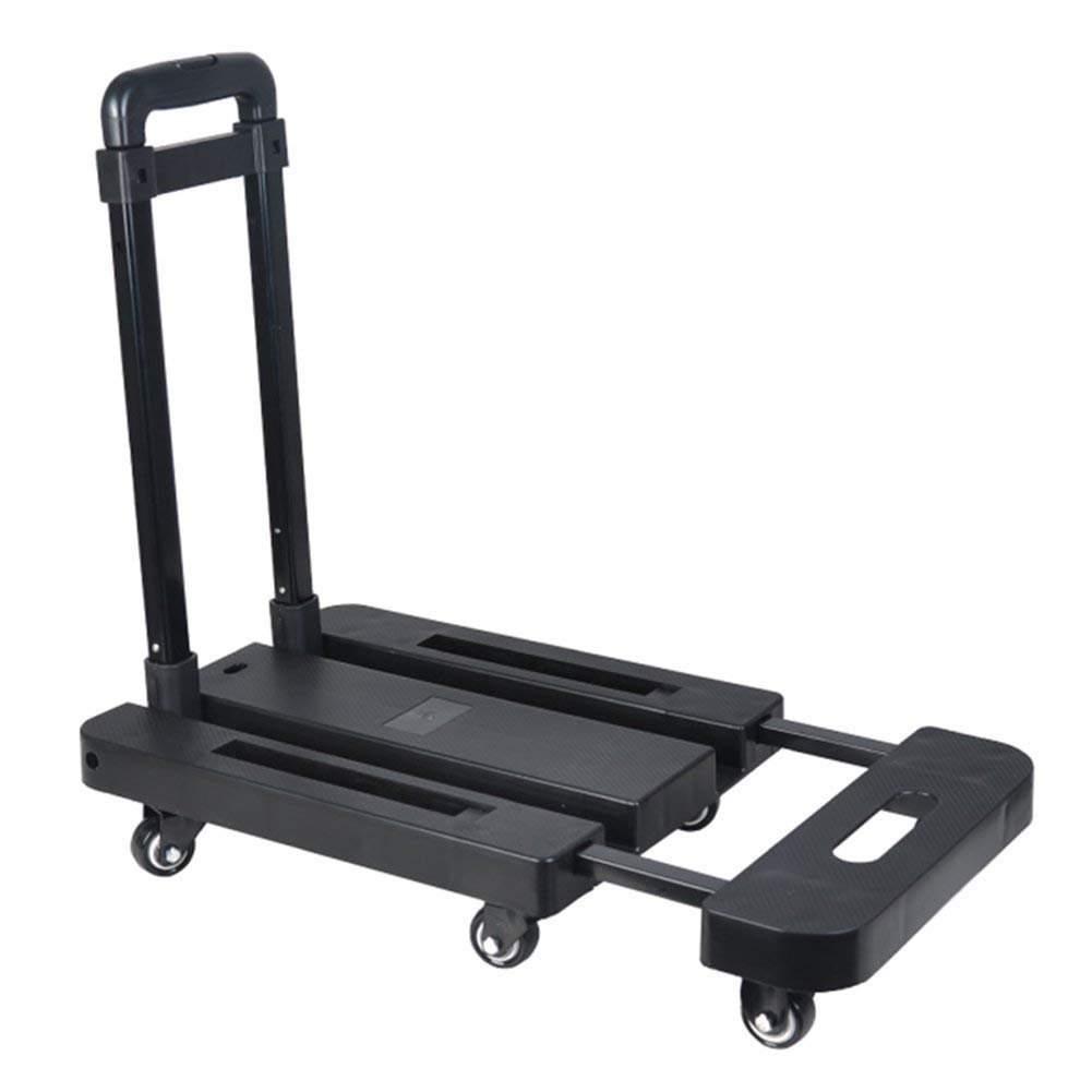 Zehaer Portable Trolley, ZGL Trolley Life Pull Truck Fold Portable Small Trailer Silent Trolley Flat Handling Luggage Cart Load King Hand Car (Color : Red) (Color : Black)