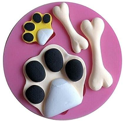 Amazon com: Paw Prints & Dog Bones Silicone Mold for Fondant