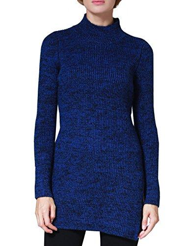 - Rocorose Women's Side Slit High-low Hem Turtleneck Long Sweater Blue S
