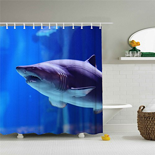 Coin Quick (starlight-Bracele Bathroom shower curtain, big shark's coin, blue,Fabric Shower Curtain Set, Color Painting Polyester Shower Curtain, Quick Dry Machine Washable, Violet)