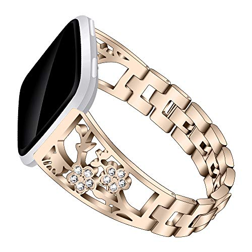Bling Metal Bands Compatible Fitbit Versa Watch,Stainless Steel Replacement Adjustable Jewelry Rhinestone Diamond Strap Bracelet for Fitbit Versa and Versa Special Edition GPS Fitness (Vintage Gold)