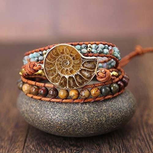 Natural Ammonite Fossil Jasper & African Turquoise Wrap Bracelet | Natural Jasper Stone 3X Wrap Bracelet | Topnotch Quality Bracelet | Summer Bracelet | Birthday or Xmas Gift Ideas