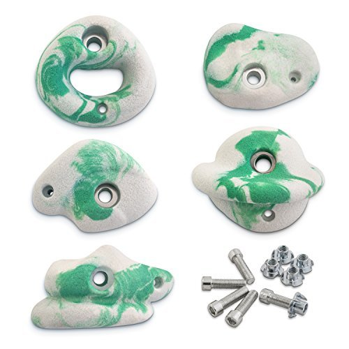 Helium | Rock Climbing Hold Set for Kids and Adults - Set of 5 Hand Holds with Screw On Plywood Hardware (Plywood Kit)