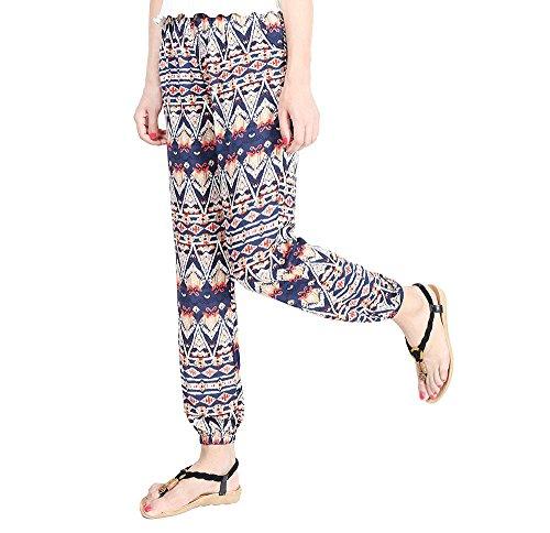 YuanDian Mujer Verano Casual Bohemia Estilo Gasa Estampado Floral Ancho Tallas Grandes Talle Alto Harem Pantalones Suelto Delgado Cintura Elástica Yoga Harén Aladdin Pantalon Azul