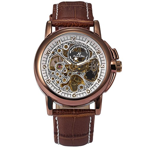 German Mechanical Watches (KS Royal Carving Automatic Mechanical Analog Waterproof Men's Stainless Steel Watch KS037)
