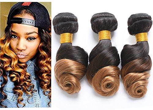Ombre Loose Wave Bundles 3 Bundles Brazilian Virgin Human Hair 1B/27 Ombre 2 Tone Color Human Hair Extensions(8 10 12, T1B/27)