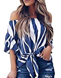 Ray-JrMALL Women Striped T Shirt Knot Front Bell Sleeve One Shoulder Loose Fit Pullover Blue