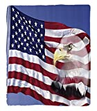 Chaoran 1 Fleece Blanket on Amazon Super Silky Soft All Season Super Plush American Flag Decor Bless America Flag in the Wind with Eagle Icon Double Exposure Citizen Image Fabric Extra
