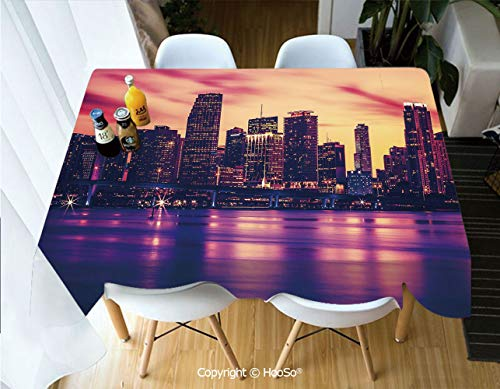 HooSo Premium Polyester Table Cover, Machine Washable, Durable Table Cloths for Wedding Reception Restaurant Banquet Party,United States,View of Miami at Sunset Building Urban,53