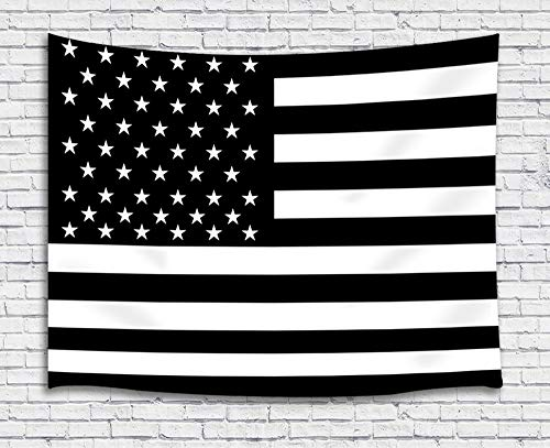 JAWO American Flag Tapestry Wall Hanging, Black and White Stars and Stripes US Flag Tapestries for Dorm Living Room Bedroom, Wall Blanket Beach Towels Home Decor 71X60 Inches -