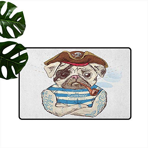 RenteriaDecor Pug,Decorative Floor Mat Pirate Pug Conqueror of The Seas Pipe Skulls and Bones Hat Striped Sleeveless T Shirt 36