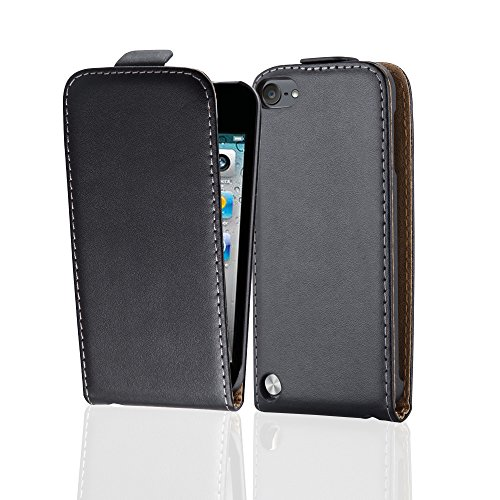 Cadorabo Case works with Apple iPod Touch 5 in CAVIAR BLACK (Design FLIP SMOOTH) – with 2 Card Slots – Case Etui Cover Pouch PU Leather Flip