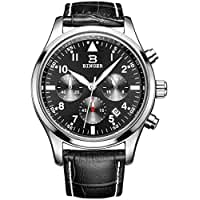 BINGER Mens Date Black Sports Chronograph Watches Stopwatch Timer Leather Strap Luminous Numerals