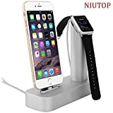 Niutop Apple Watch Stand & iPhone Stand, Premium [2 in 1] Apple Watch Iphone [Charging Dock] Solid Aluminum Body Desk Charge Charging Station, Apple Watch Charge Charging Stand Cradle Holder for Apple Iwatch 38mm/42mm, Comfortable Viewing Angle Charging Stand Holder for Iphone 6, Iphone 6 Plus, Iphone 5 5s 4s (Plata)