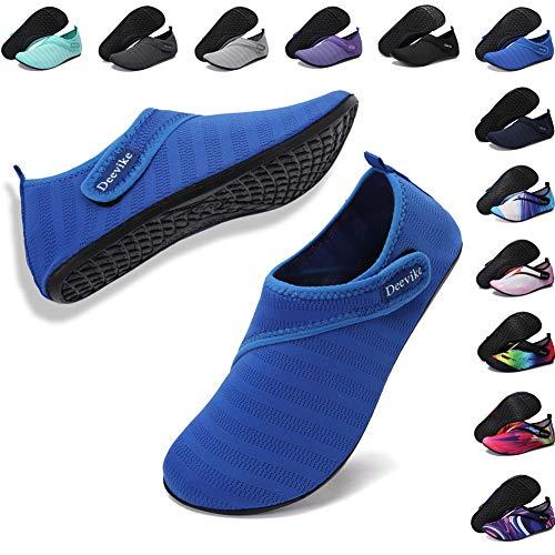Deevike Barefoot Aqua Socks for Women Men Quick Dry Water Shoes Slip on Swim Beach Pool Surf Diving Yoga Exercise Shoes Blue Strap EU38/39
