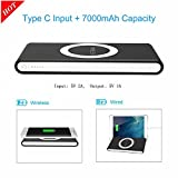 QI Wireless Charging Power Bank 7000mAh Type C Portable Charger Wireless Charger Dual Mode Charging with Type C/USB C input Micro USB Output Portable Phone Charger for Samsung,iPhone,etc. (Black-7000)