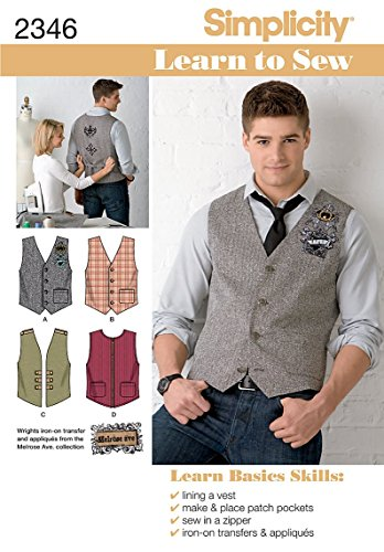 Simplicity Sewing Pattern 2346 Men's Vests, AA (34-36-38-40-42)
