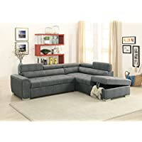Breathable Leatherette 2 Piece Sectional Convertible Sofa In Slate Gray