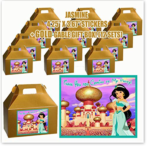 Aladdin Jasmine Princess Movie Party Favor Boxes with Thank You Decals Stickers Loots Gold Birthday 12 Pieces Great Seller ...