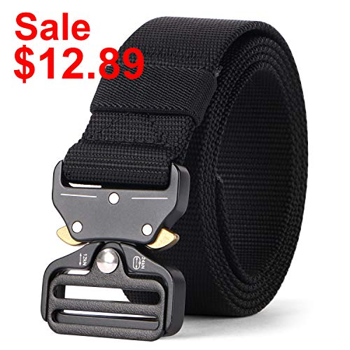 WERFORU Tactical Belt, Heavy-Duty Webbing Riggers Quick-Release Web Belt Military Style Metal Buckle
