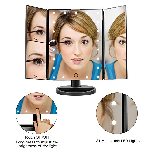 Fascinate Lighted Makeup Mirror 21 LED Lights Touch Screen Dimming, Tri-Fold 3X/2X/1X Magnification 180 Degree Rotation Vanity Mirror (Black) by ASCINATE (Image #3)