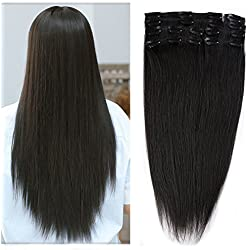 """Natural Black 100% Clip in Remy Human Hair Extensions #1B 20"""" / 20 inch Grade 7A Quality Full Head 8pcs 18clips Long Soft Silky Straight for Women Fashion 105g"""