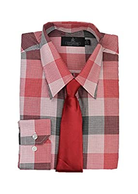 Vittorino Men's Plaid Dress Shirt and Tie