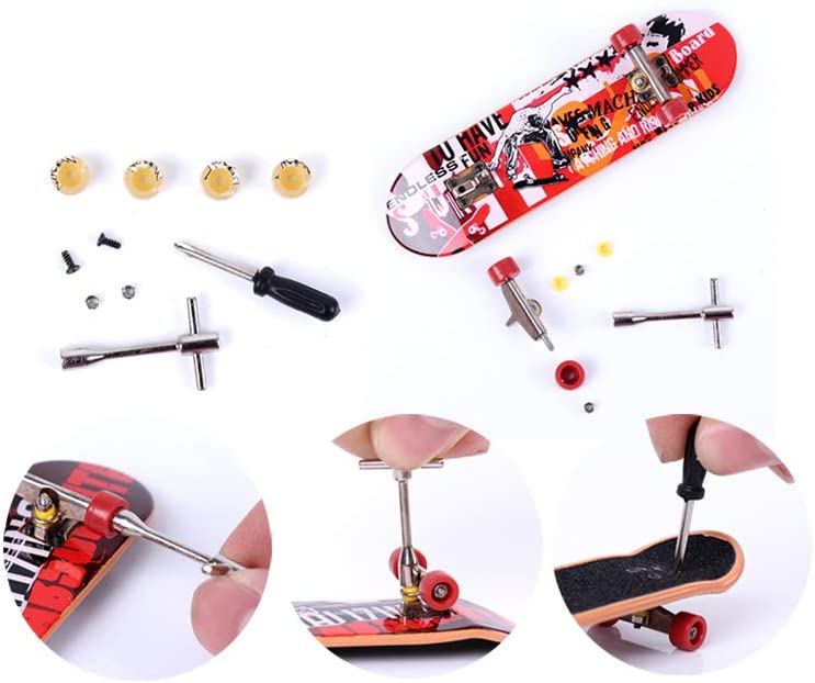 Cherish XT Finger Skate Park Kit Ramp Parts for Finger Skateboard Ultimate Parks Training Props Tech Deck with Finger Boards A+D+E Red with Graffiti 6pcs Set