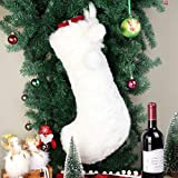 20 inch Snowy White Christmas Stocking, Kicpot Cozy Faux Fur Large Plush Holiday Stockings Party Decoration