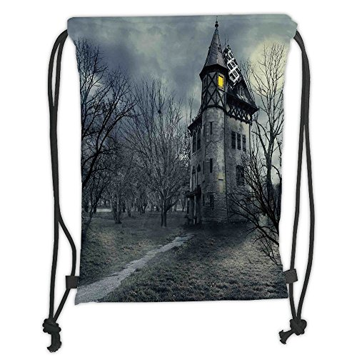 Custom Printed Drawstring Sack Backpacks Bags,Halloween,Halloween Design with Gothic Haunted House Dark Sky and Leafless Trees Spooky Theme Decorative,Teal Soft Satin,5 Liter Capacity,Adjustable Strin