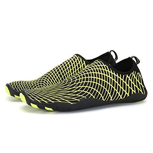 SAGUARO Womens Mens Durable Rubber Sole Aqua Water Shoes Quick Drying Skin Socks (Adult, Unisex) Fluorescent Green