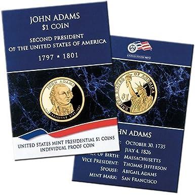 2007 S John Adams Proof Dollar Historical Signature Set with Box /& COA