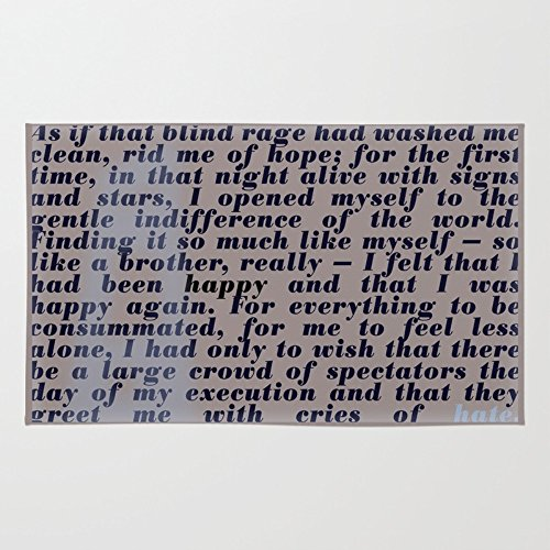 Society6 Literary Quote Poster The Stranger By Albert Camus Rug 3' x 5'