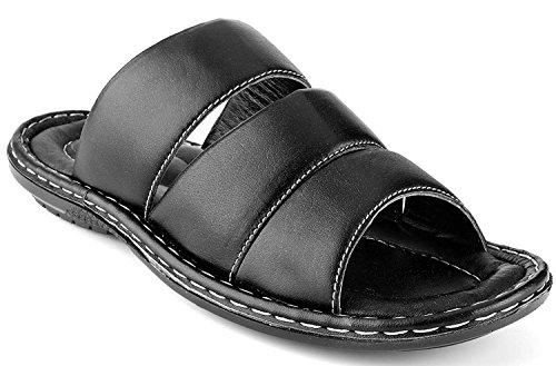 Prospero Comfort Men's Sandals Top Grain Leather Soft Cushion Footbed - Stripes Design Black 9 by Prospero Comfort