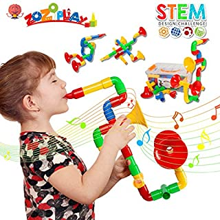 ZoZoplay STEM Toys Tube Locks 72 Piece Tubular Pipes & Spouts & Joints & Whistles Learning Educational Building Block Set with Wheels Gift for Boys Girls
