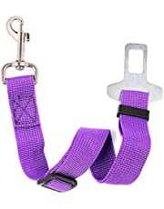 Neuftech Adjustable Dog Seat Belt, Dog Cat Car Pets Safety Seat Belt Harness Leads for Any Cars Vehicle - Most Small Pets- (Purple)
