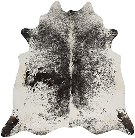 RODEO Salt and Pepper Cowhide Rug Brazilian Cow Skin Rug Brown Tricolor Black Cow hides Size XXL Approx 6×6 ft 182cmx 182cm cowhides Natural Cowhide Rug Premium Quality Black and White