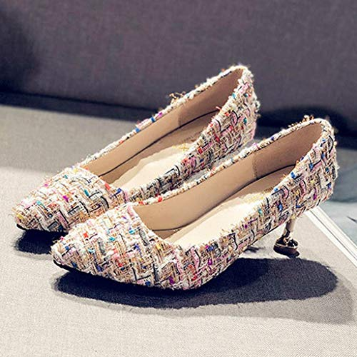 Orangeskycn Women Single Shoes Sandals Fashion Summer Retro Casual Color Woven High Heel Roman Working Shoes White by Orangeskycn Women Sandals (Image #7)