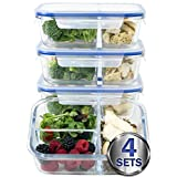 [Large Premium 4 Pack] 3 Compartment Glass Meal Prep Containers w/ New Divider Seal Tech Best Quality Snap Locking Lids Airtight 8 Pcs Glass Tupperware Set BPA-Free (5 Cups, 39 Oz)