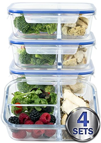 [Large Premium 4 Pack] 3 Compartment Glass Meal Prep Containers w/ New Divider Seal Tech Best Quality Snap Locking Lids Airtight 8 Pcs Glass Tupperware Set BPA-Free (5 Cups, 36 Oz)