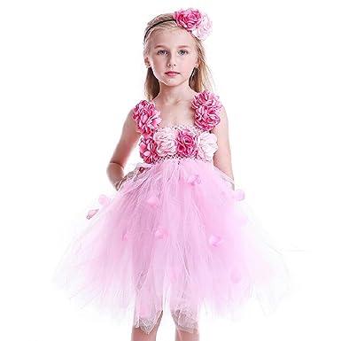 5b6f8e4f34e THE LONDON STORE Princess Girls Pink Flower Tutu Dress 2018 Summer New  Clothing Children Wedding Ball