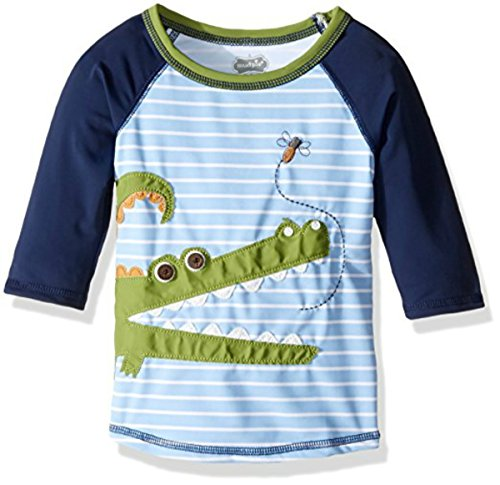 Alligator Long Sleeve - Mud Pie Baby Boy's Gator Rashguard (Infant/Toddler) Blue Swimsuit Top