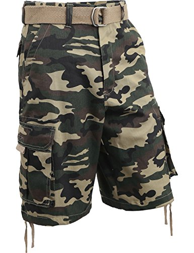 Hat and Beyond IH Mens Twill Cargo Shorts with Belt (38/h. iha03_Green camo) from Hat and Beyond