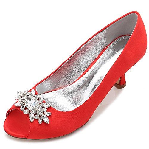 L@YC Zapatos De Boda De Las Mujeres F17061-57 Rhinestone Con El Vestido De Las SeñOras Zapatos Del SalóN De Fiesta Del SatéN De La Hebilla Red