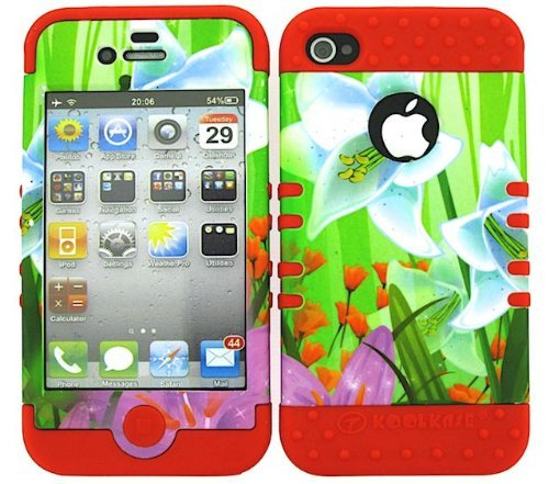 For Apple IPhone 4 4S 4G FLOWERS RD-TE310 HYBRID 2-1 SHOCKPROOF KOOLKASE CASE WITH RED SILICONE SKIN
