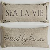 Evelyn Hope Collection Blessed By The Sea Coastal Beach Throw Pillow With Removable Aqua Starfish Pin