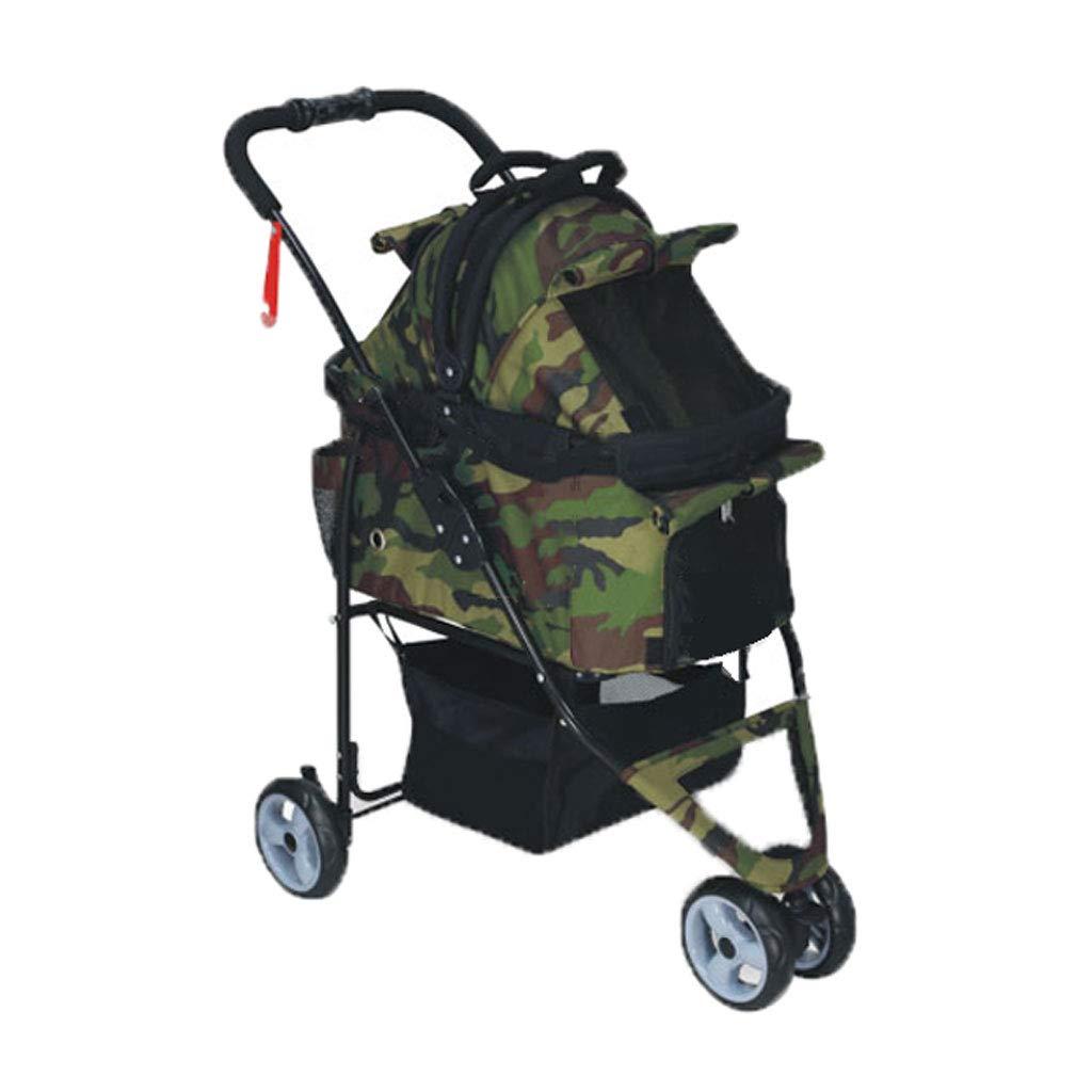 ArmyGreen A3 Pet Stroller Dog cat Trolley Rainproof Detachable Multi-Purpose Folding Cart Out Light Animal Sports Car. Dog cart (color   ArmyGreen)