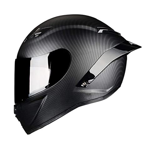 Woljay Full Face Motorcycle Helmet Racing Helmet Motocross Off Road Moto Street Bike Helmets (L, Carbon Fiber Matte)